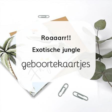 Exotische jungle geboortekaartjes