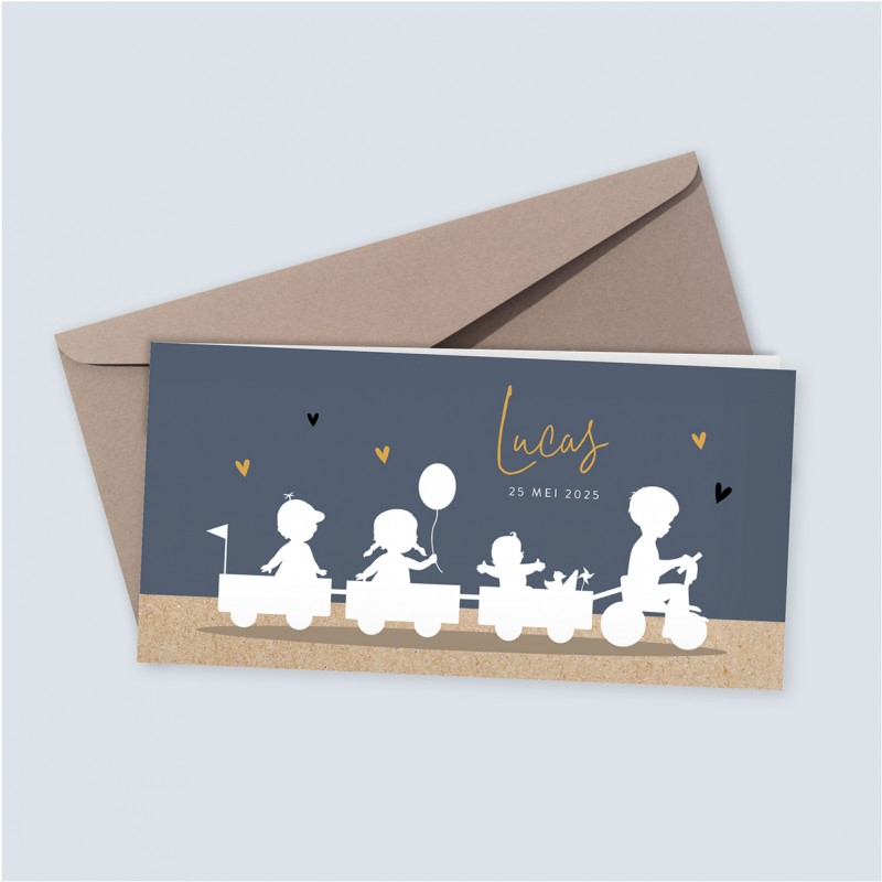 Geboortekaartje Bakfiets met vier kindjes