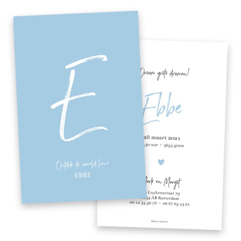 Geboortekaartje Blauw typografisch kaartje