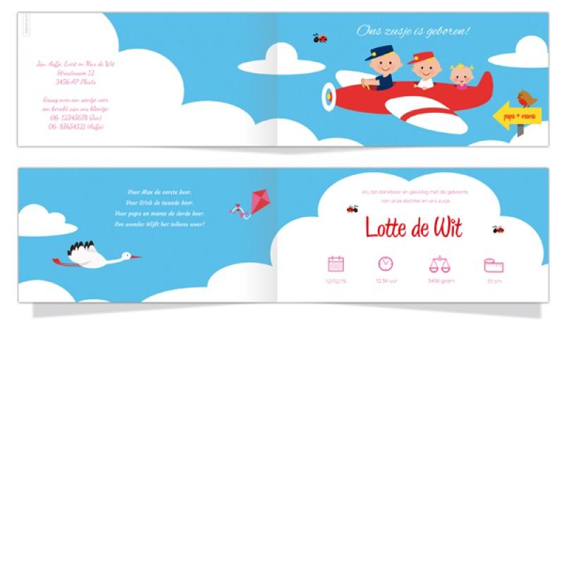 Geboortekaartje Derde kind in vliegtuig