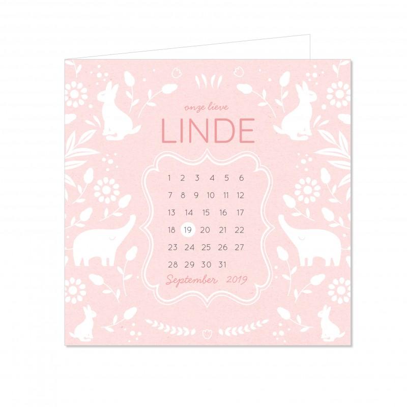 Geboortekaartje Dieren en kalender meisje