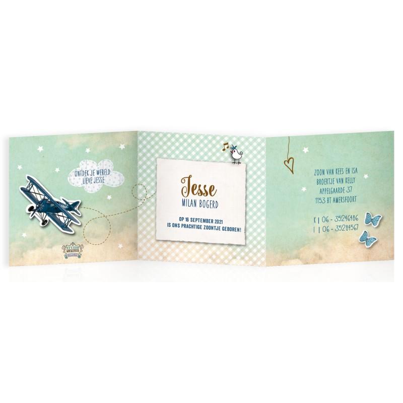 Geboortekaartje Drieluik met vliegtuigje