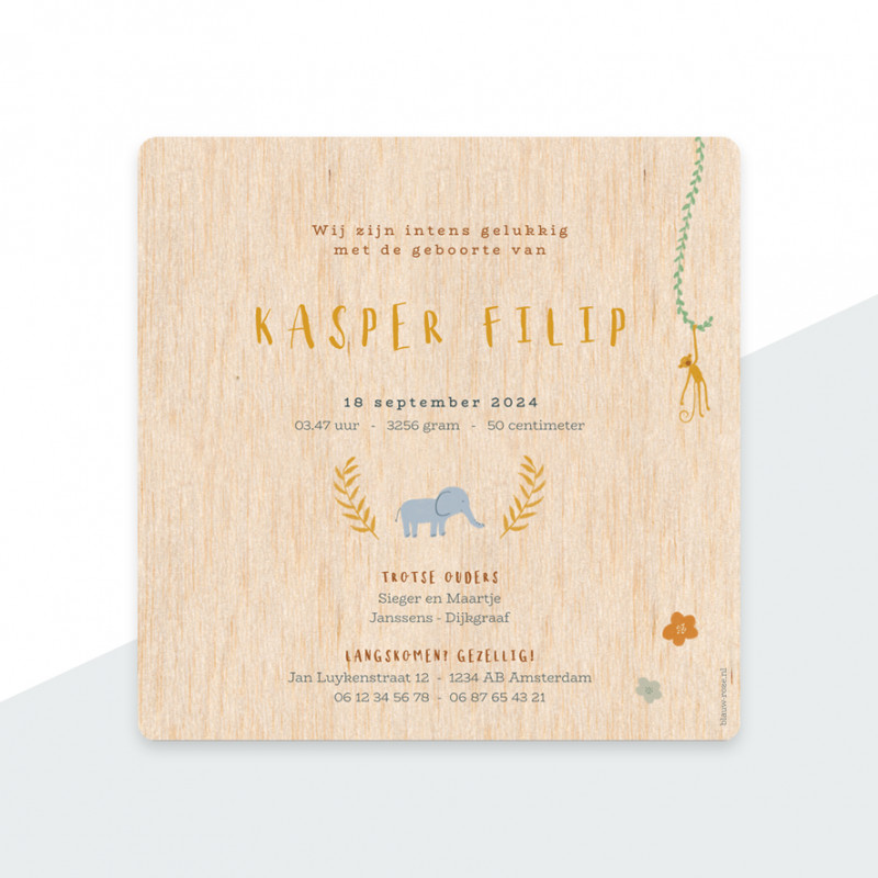 Geboortekaartje Echt hout - olifantjes