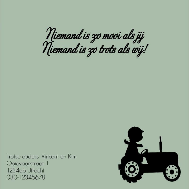Geboortekaartje Geboortekaartje tractor