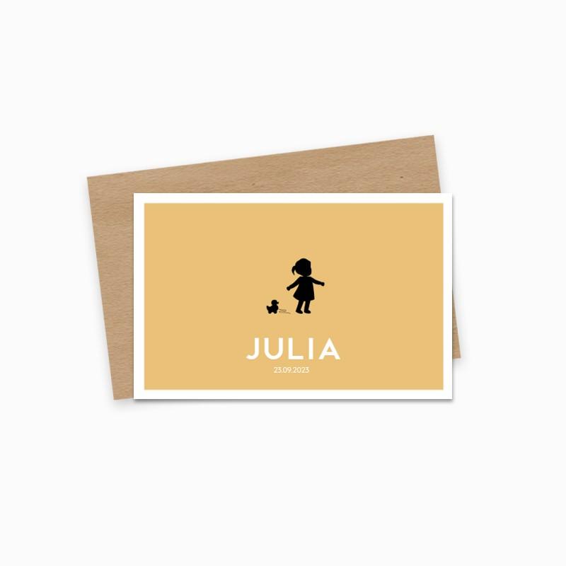 Geboortekaartje Geel silhouet meisje
