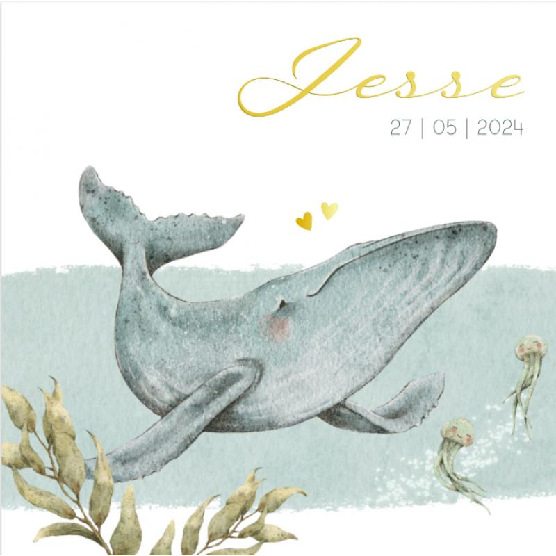 Geboortekaartje Handgetekende walvis