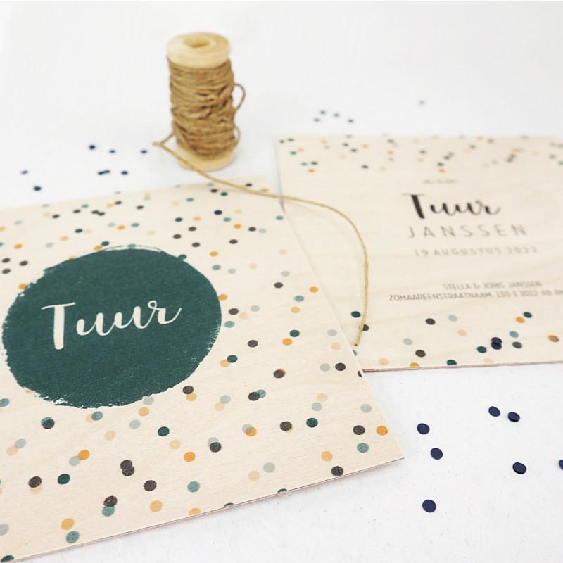 Geboortekaartje Houten kaart confetti