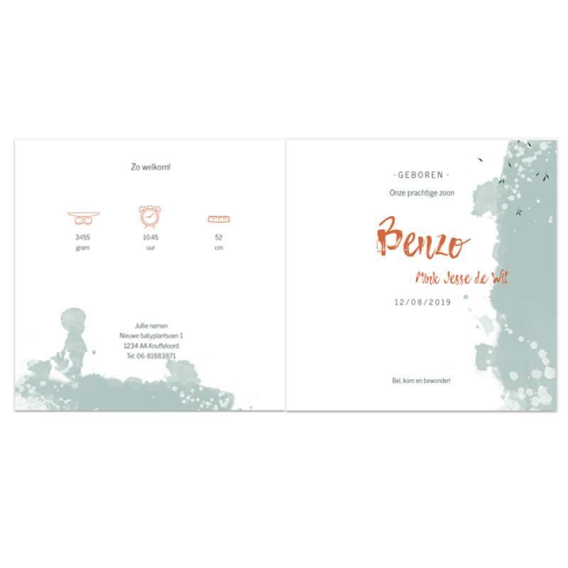 Geboortekaartje Kaart verf en koperfolie
