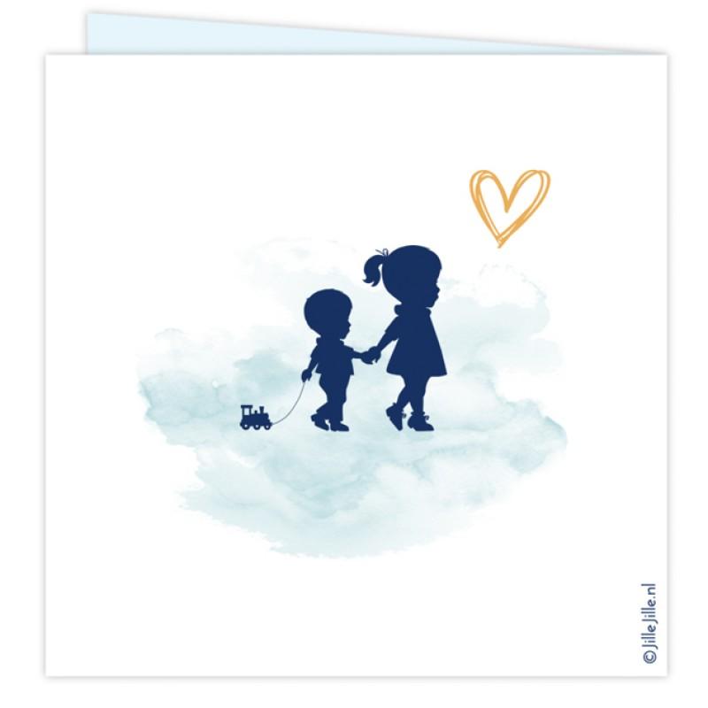 Geboortekaartje Kaartje broer-zus silhouet