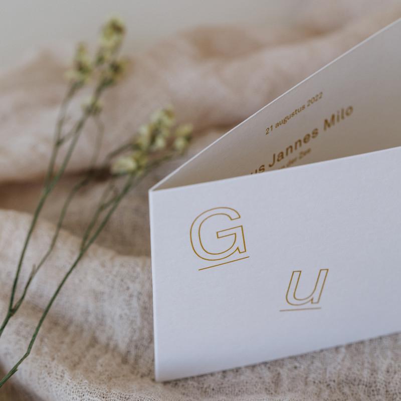 Geboortekaartje Minikaartje met letters