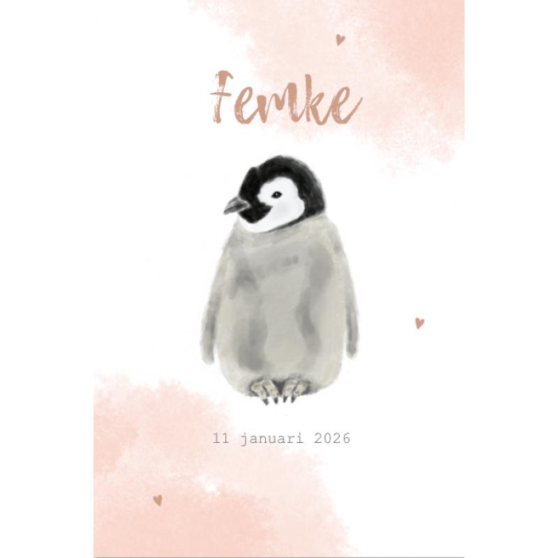 Geboortekaartje pinguin winter meisje