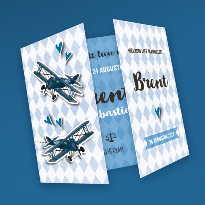 Geboortekaartje retro vliegtuigje