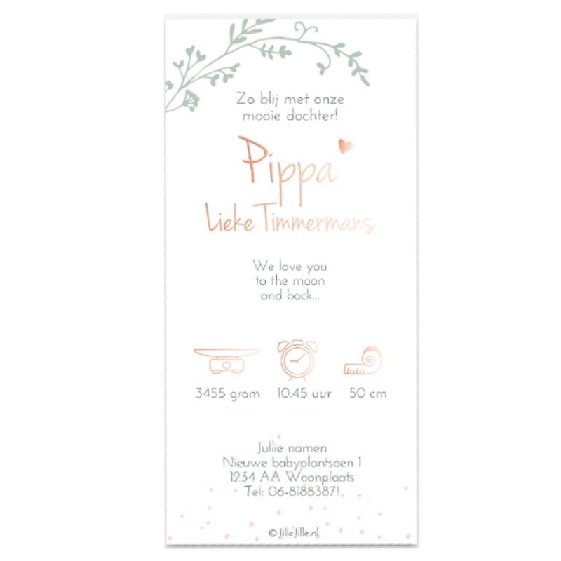 Geboortekaartje Rosé-goudfolie en stipjes