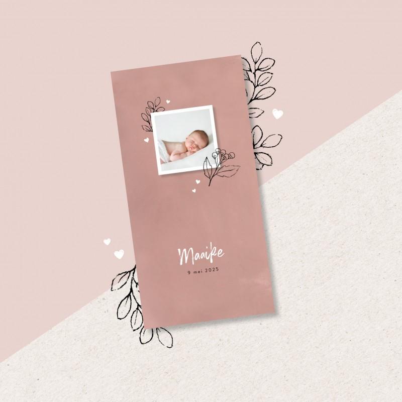 Geboortekaartje Roze kaartje met foto