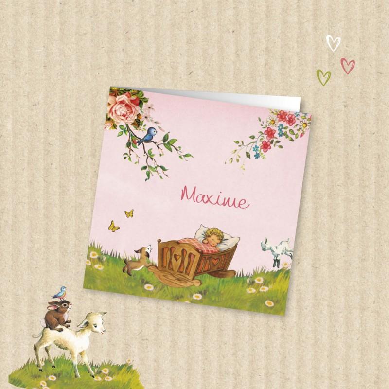 Geboortekaartje Roze met lente baby