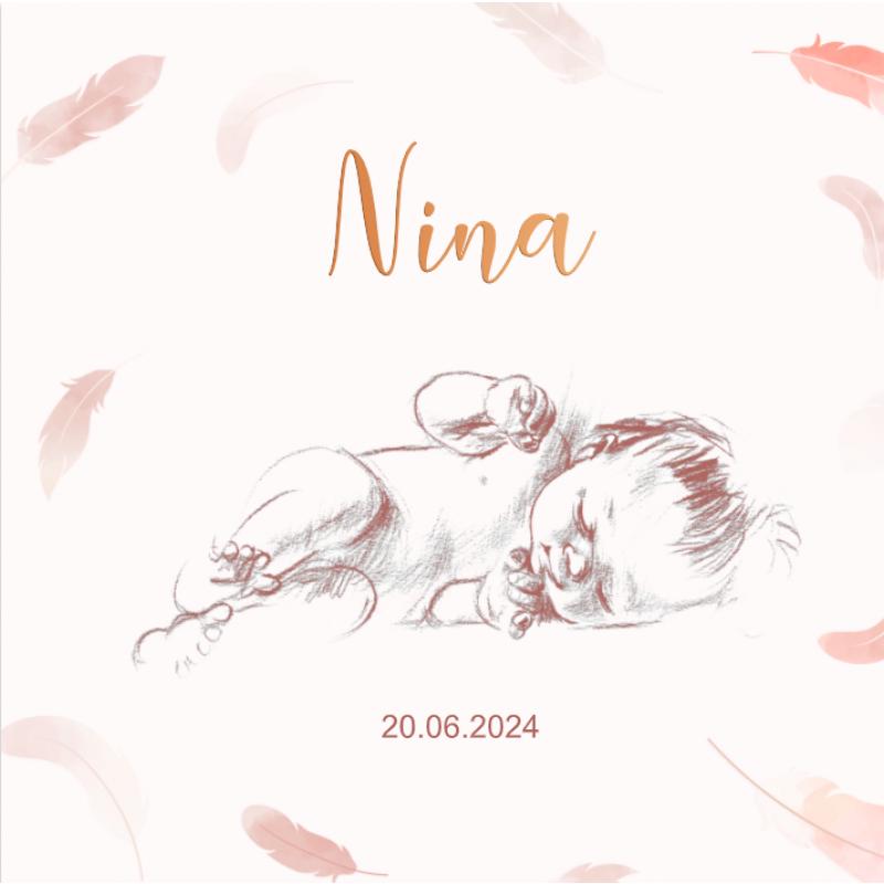 Geboortekaartje Slapende baby in het roze