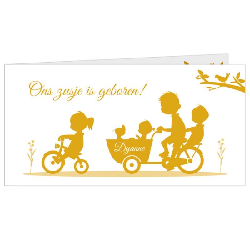 Geboortekaartje Vier kinderen bakfiets