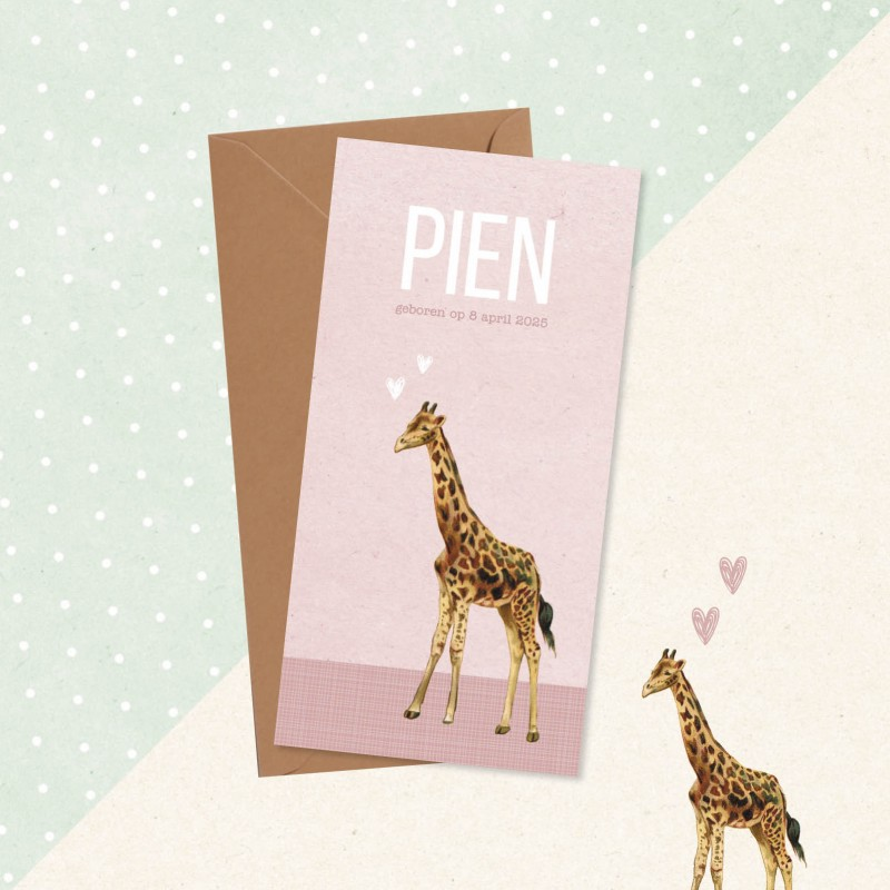 Geboortekaartje Roze met vintage giraf