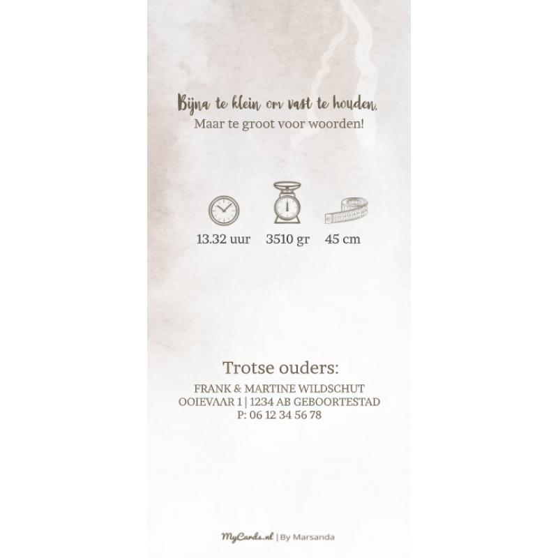Geboortekaartje waterverf bruin