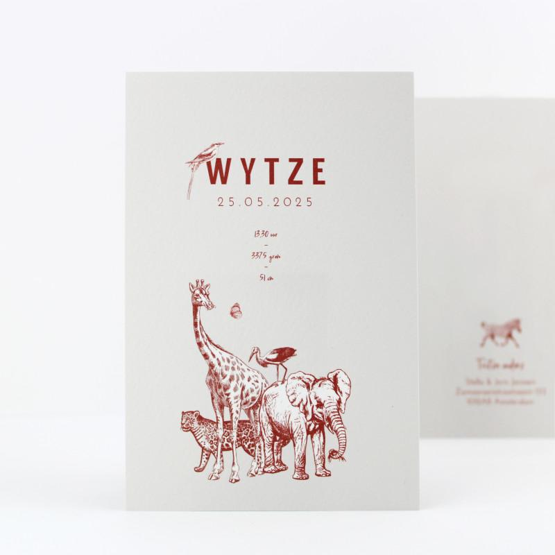 Geboortekaartje Wilde dieren bende