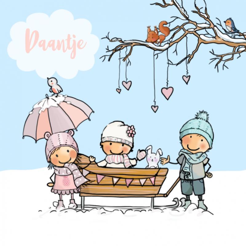 Geboortekaartje winter gezin sleekar