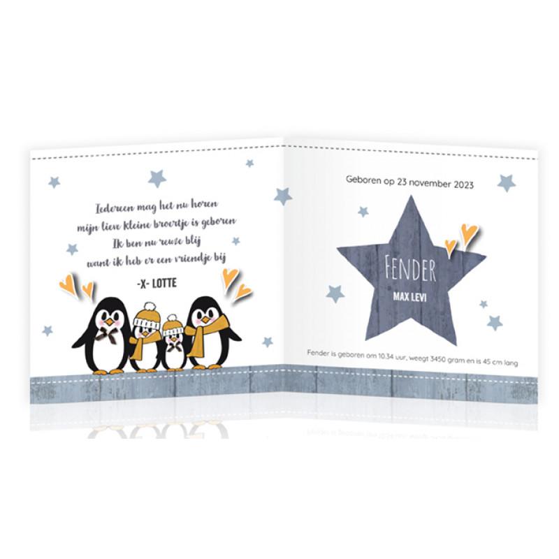 Geboortekaartje Winters met pinguïn