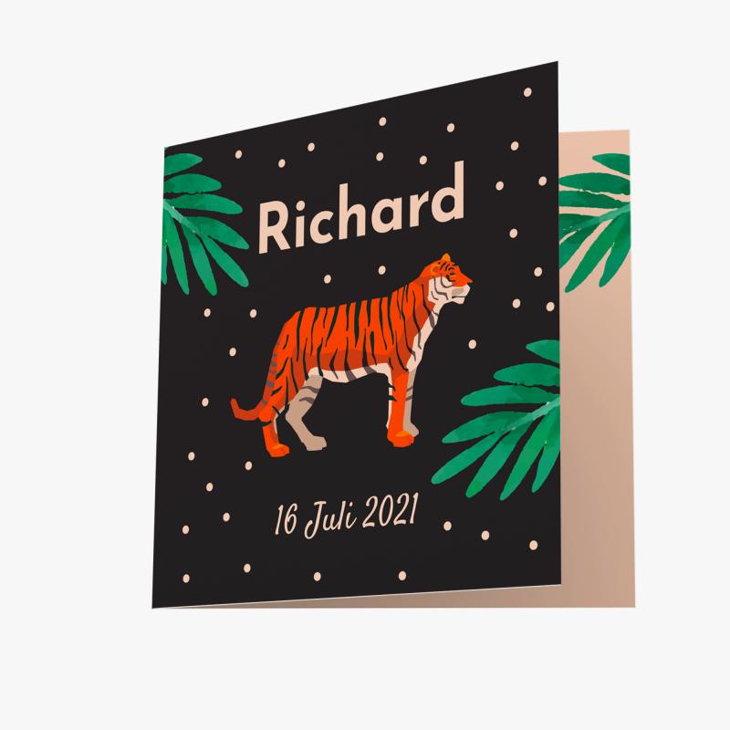 Geboortekaartje Zwarte kaart met tijger