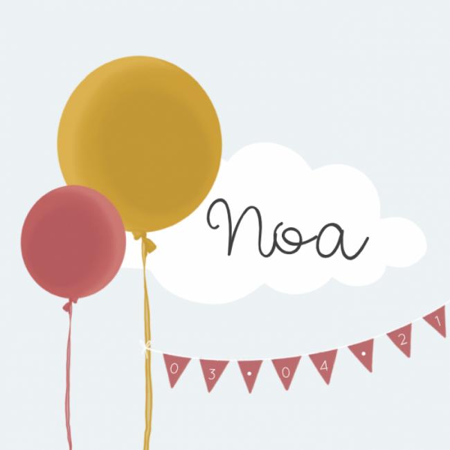 Geboortekaartje ballonnen meisje
