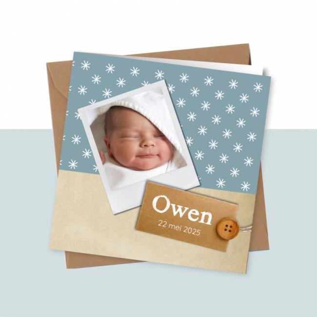 Geboortekaartje Blauw met foto en sterren