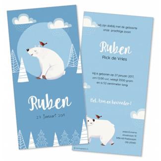 Geboortekaartje Blauw met vrolijke ijsbeer
