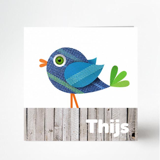 Geboortekaartje Blauw vogeltje