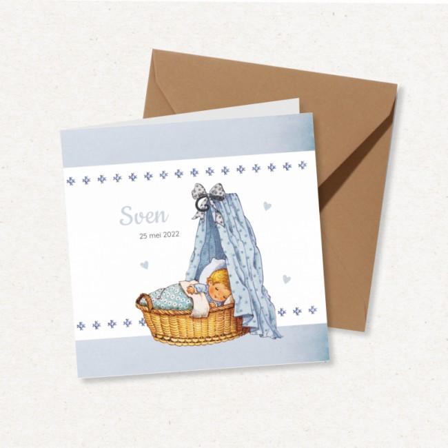Geboortekaartje Blauw wiegje