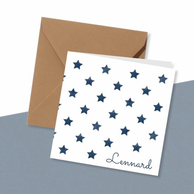 Geboortekaartje Blauwe sterren