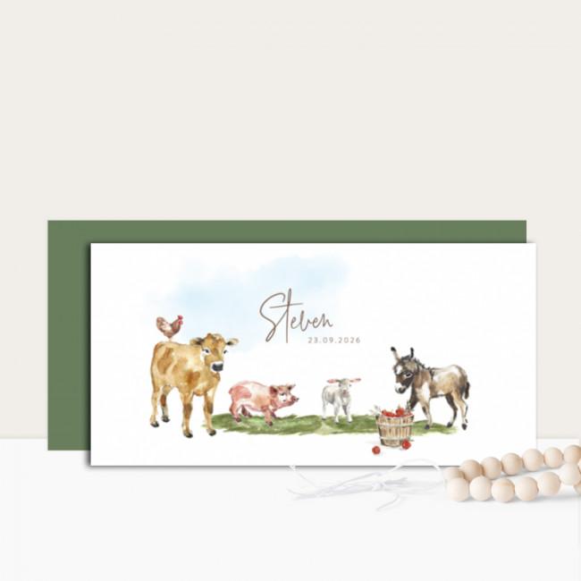 Geboortekaartje Boerderijdieren getekend
