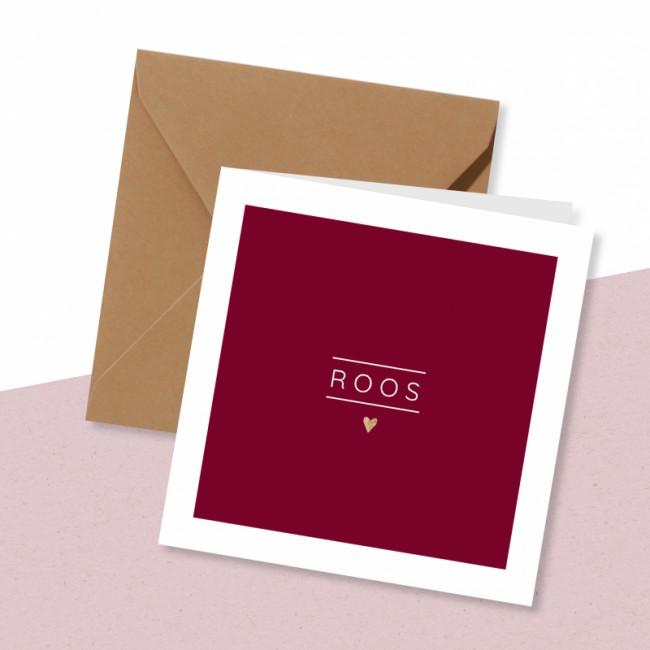 Geboortekaartje Bordeaux rood met hartje