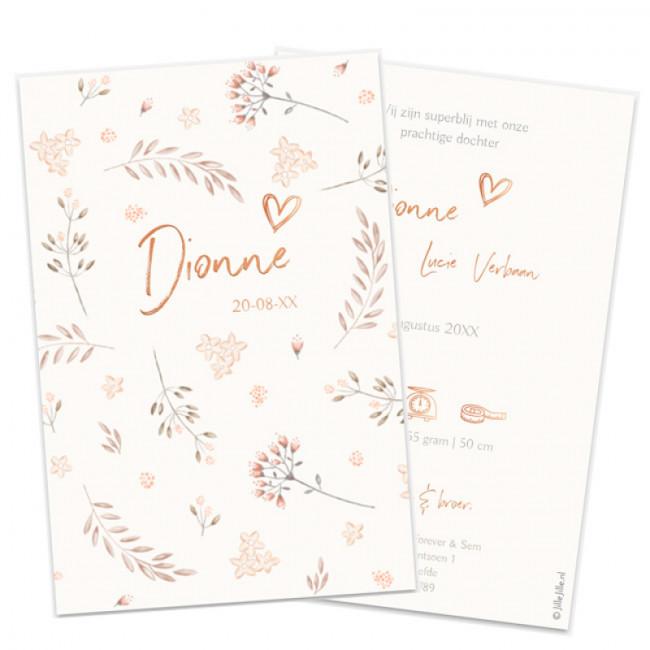 Geboortekaartje Botanisch kaartje folie
