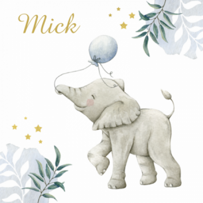 Geboortekaartje Botanisch olifant ballon