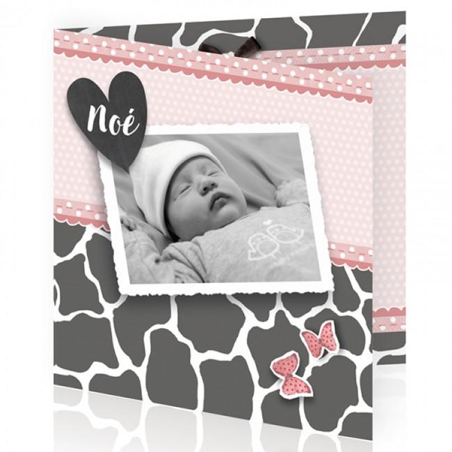 Geboortekaartje Dierenprint met foto