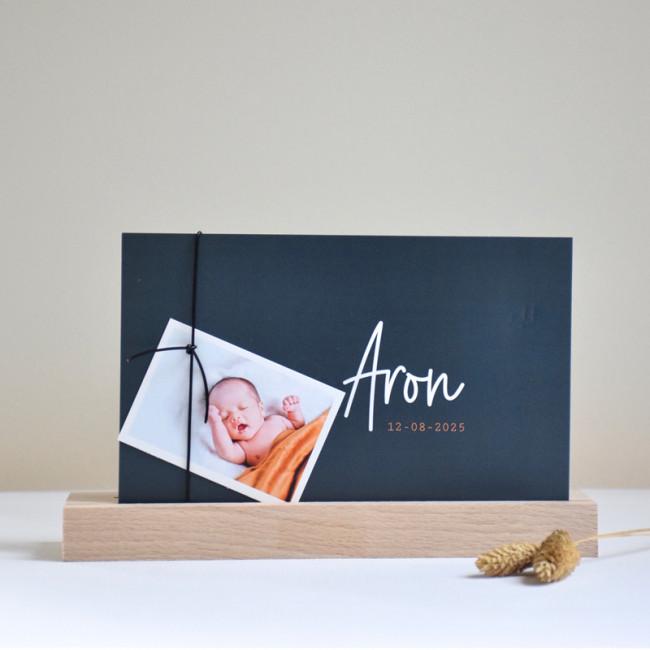 Geboortekaartje Donkerblauw met foto