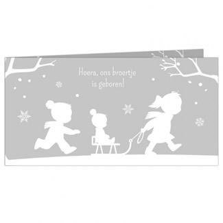 Geboortekaartje Drie kinderen in de sneeuw