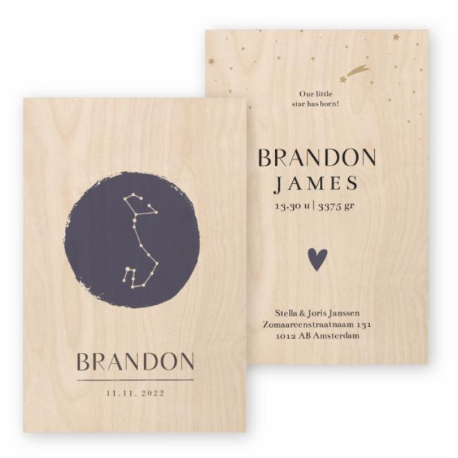 Geboortekaartje Echt hout Brandon
