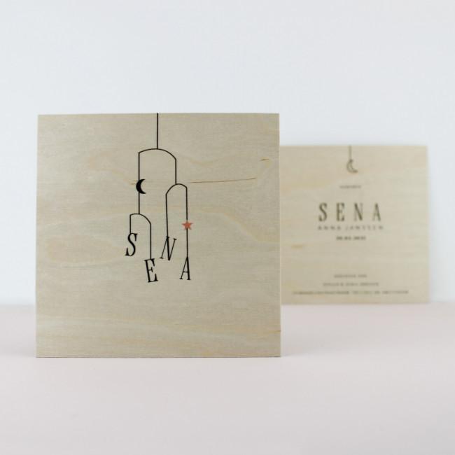 Geboortekaartje Echt houten meisjeskaartje