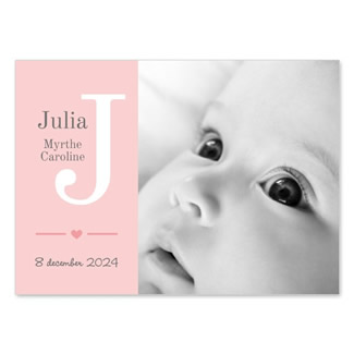 Geboortekaartje Eigen foto met initiaal