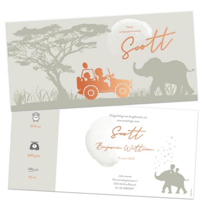 Geboortekaartje Folie kaartje safari