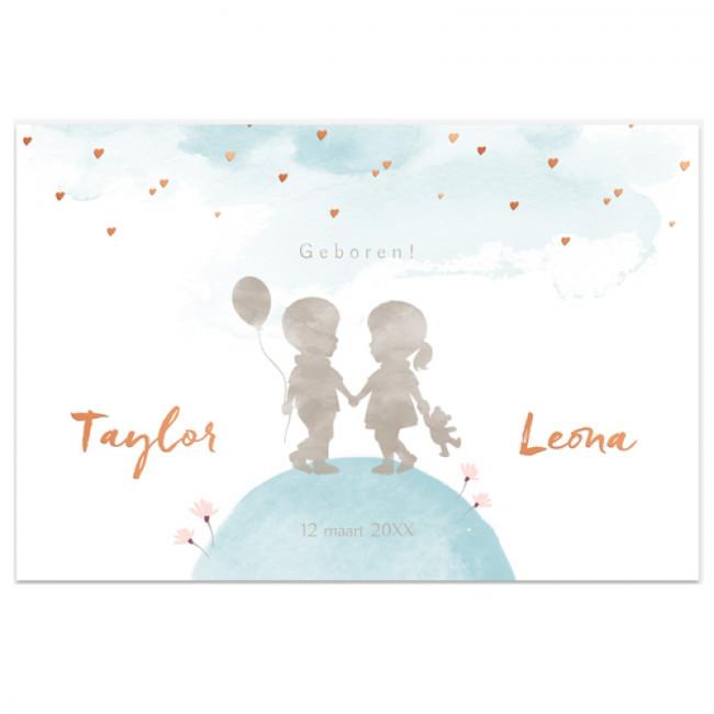 Geboortekaartje Folie tweelingkaartje