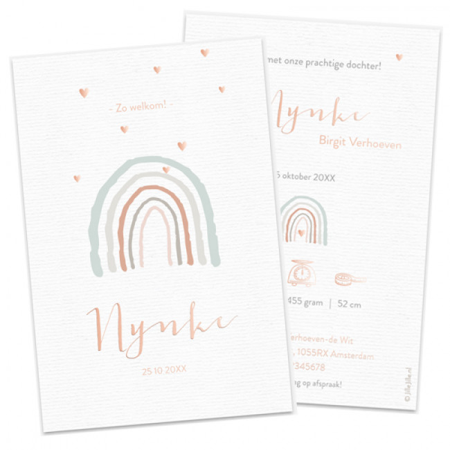Geboortekaartje Foliekaartje regenboog