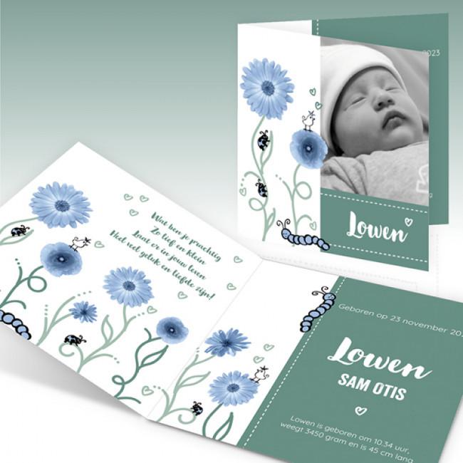 Geboortekaartje Foto en bloemen