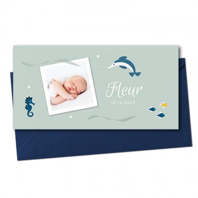 Geboortekaartje foto en vissen
