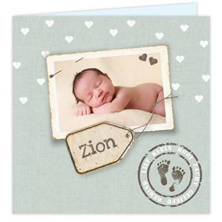 Geboortekaartje Fotokaart vintage
