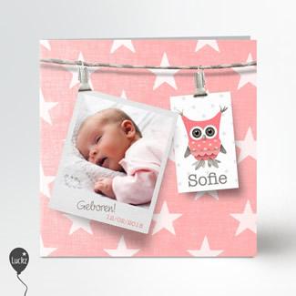 Geboortekaartje Geboortekaart met sterren